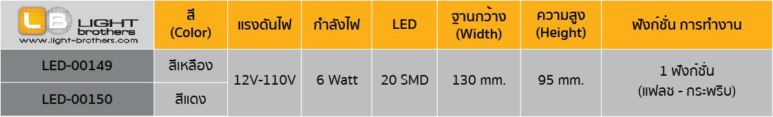 ไฟไซเรน LED กลม 5 นิ้ว ตารางรหัสสินค้า