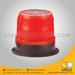 ไฟไซเรน LED กลม ฐาน 5 นิ้ว โซล่าเซลล์ สีแดง