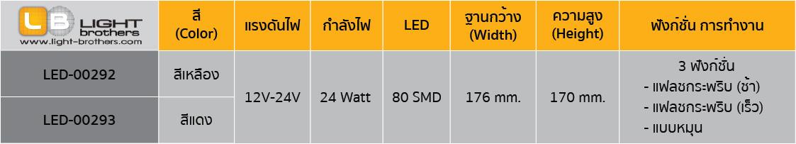 ไฟไซเรน LED กลม 7 นิ้ว ตารางรหัสสินค้า