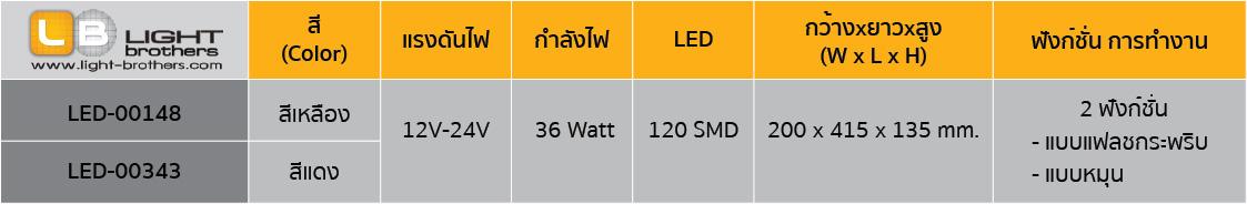 ไฟไซเรน LED รูปถั่ว - แบบ 2 ฟังก์ชั่น ตารางรหัสสินค้า