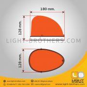 ไฟไซเรน LED ทรงหยดน้ำ - แบบ 3 ฟังก์ชั่น ขนาด