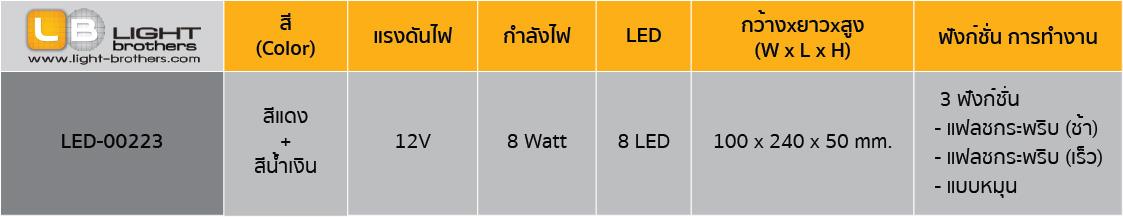 ไฟไซเรน LED ติดกระจกรถยนต์ ตารางรหัสสินค้า