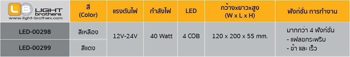 ไฟไซเรน LED ทรงยาว แบบ 2 ตอน ตารางรหัสสินค้า