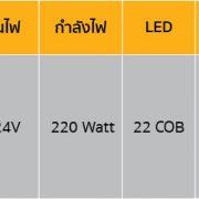 ไฟไซเรน LED ทรงยาว แบบ 10 ตอน ตารางรหัสสินค้า